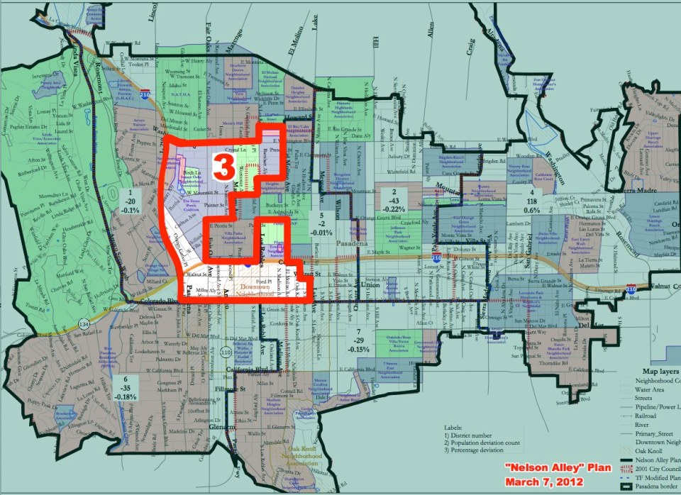 Pasadena City Council District 3 includes that portion of Downtown Pasadena that is North of Colorado Blvd.