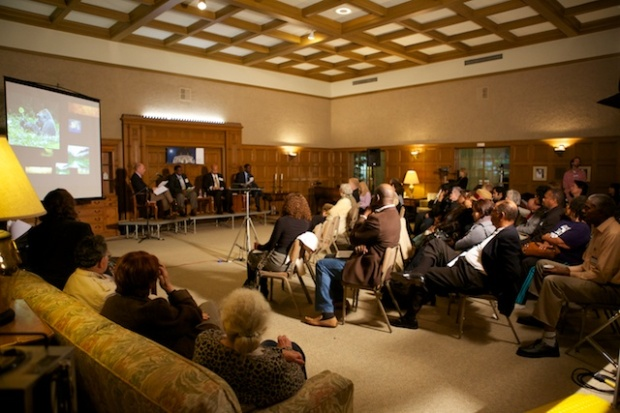 The audience filled the Gamble Lounge of Pasadena Presbyterian Church (who also  graciously provided the room meeting space for the DPNA's regular monthly meetings).