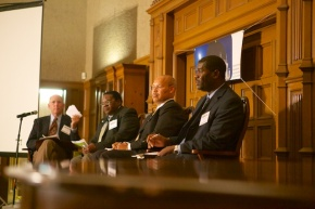 Vice President of the DPNA Greg Gunther moderates the Feb 5th Candidate Forum.  From left: Greg Gunther, Nicolas Benson, John J. Kennedy, Ishmael Trone