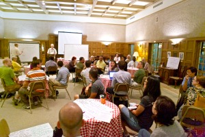 "Representatives from a variety of Pasadena & Los Angeles organizations gathered in the Gamble Lounge of Pasadena Presbyterian Church to discuss the troubling pattern of bicyclist & pedestrian injuries, and strategized on ways to achieve ""Complete Streets"" that work for all users."