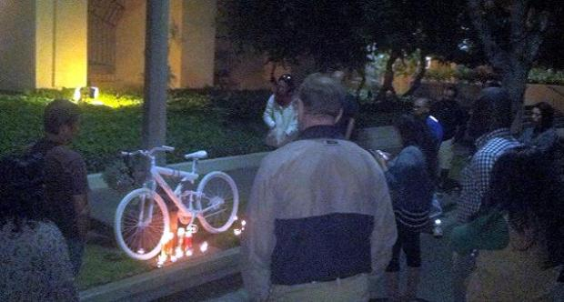 Phillip O'Neill's ghost bike on Del Mar Blvd. Photo courtesy Elizabeth Williams.