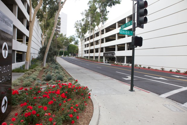 Existing Parking Garages on the south side of the site, on Holly St and De Lacey.  This nicely-landscaped-devoid-of-life street segment is intended to be the mains pedestrian connection between the project and Old Pasadena.