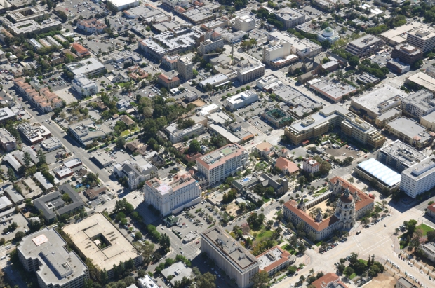 Present Day aerial view of Downtown Pasadena